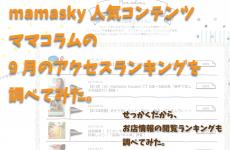 富山のママの「人気」が分かる! 9月のアクセスランキングを調べてみた。